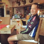 Brad - enjoying his post-time-trial Leffe Blond