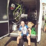 Post-ride, in the team van